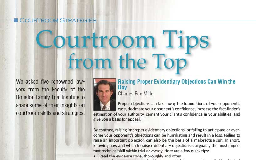 Family Lawyer Magazine: Courtroom Tips from the Top